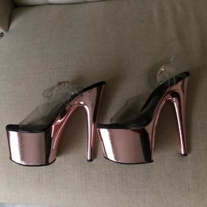 Pleaser high rose gold heels!